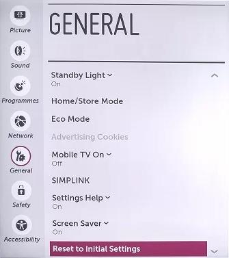 how to factory reset lg smart tv